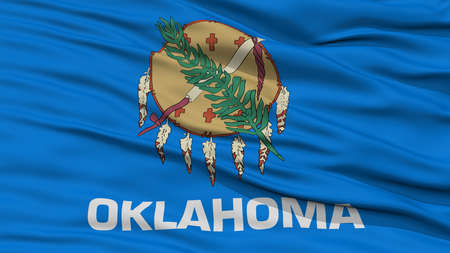 Closeup Oklahoma Flag on Flagpole, USA state, Waving in the Wind, High Resolution Stock Photo