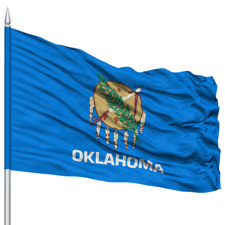 oklahoma: Isolated Oklahoma Flag on Flagpole, USA state, Flying in the Wind, Isolated on White Background