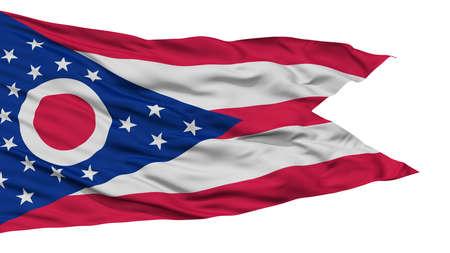孤立したオハイオ州、米国州の旗白背景、高解像度に
