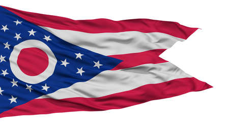 Isolated Ohio Flag, USA state, Waving on White Background, High Resolution