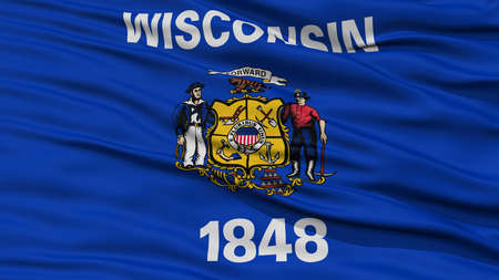 Closeup Wisconsin Flag on Flagpole, USA state, Waving in the Wind, High Resolution Stock Photo