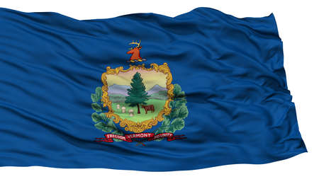 Isolated Vermont Flag, USA state, Waving on White Background, High Resolution Stock Photo