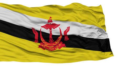 Isolated Bandar Seri Begawan City Flag, Capital City of Brunei, Waving on White Background, High Resolution