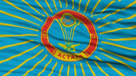Closeup Astana City Flag, Capital City of Kazakhstan, Waving in the Wind Stock Photo