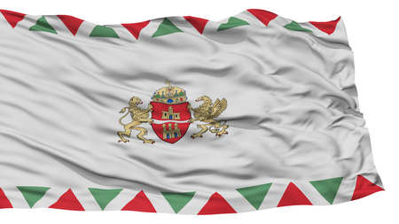 Isolated Budapest City Flag, Capital City of Hungary, Waving on White Background, High Resolution Stock Photo