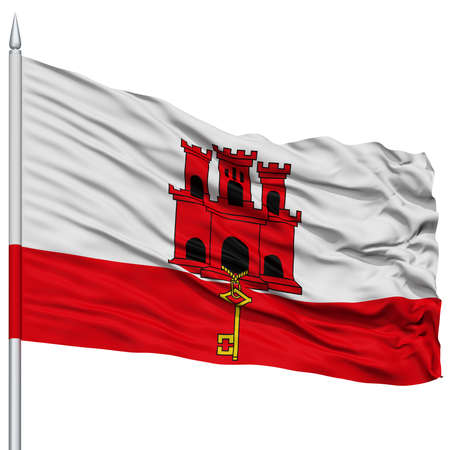Gibraltar City Flag on Flagpole, Capital City of Gibraltar, Flying in the Wind, Isolated on White Background Stock Photo