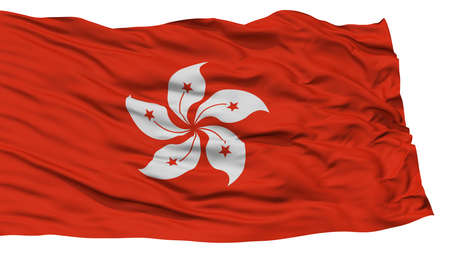 Isolated Hong Kong City Flag, Capital City of Hong Kong, Waving on White Background, High Resolution