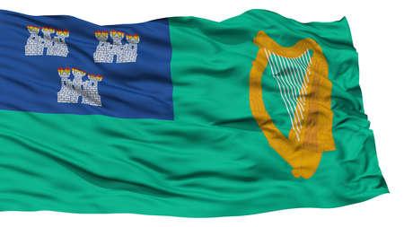 Isolated Dublin City Flag, Capital City of Ireland, Waving on White Background, High Resolution Stock Photo
