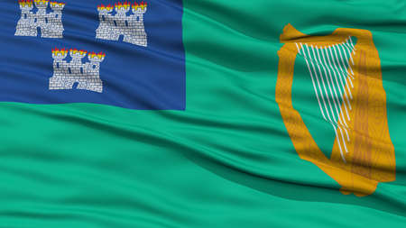 Closeup Dublin City Flag, Capital City of Ireland, Waving in the Wind Stock Photo