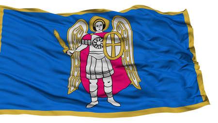 Isolated Kyiv City Flag, Capital City of Ukraine, Waving on White Background, High Resolution