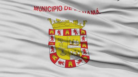 Primer Panamá Bandera de la Ciudad, Ciudad capital de Panamá, ondeando en el viento Foto de archivo