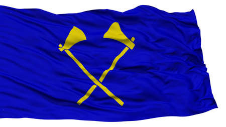 Isolated Saint Helier City Flag, Capital City of Jersey, Waving on White Background, High Resolution