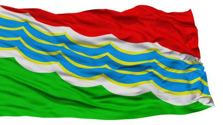 Isolated Tiraspol City Flag, Capital City of Moldova, Waving on White Background, High Resolution Stock Photo