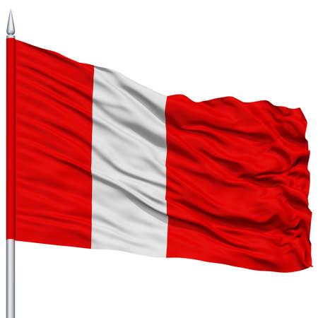 liechtenstein: Vaduz City Flag on Flagpole, Capital City of Liechtenstein, Flying in the Wind, Isolated on White Background
