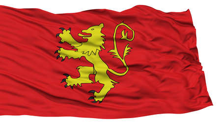 Isolated Valletta City Flag, Capital City of Malta, Waving on White Background, High Resolution