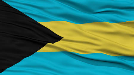 Closeup Bahamas Flag, Waving in the Wind, High Resolution