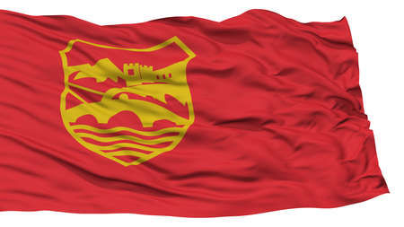 Isolated Skopje City Flag, Capital City of Macedonia, Waving on White Background, High Resolution