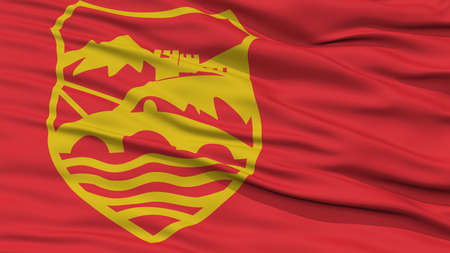 Closeup Skopje City Flag, Capital City of Macedonia, Waving in the Wind