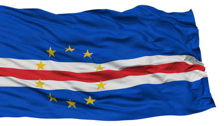 verde: Isolated Cape Verde Flag, Waving on White Background, High Resolution