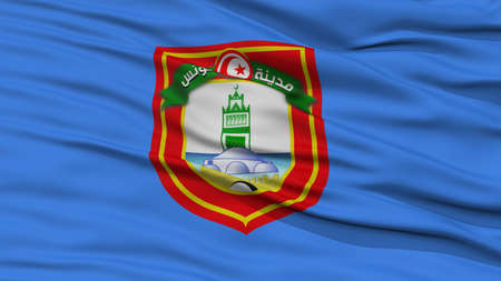 Closeup Tunis City Flag, Hauptstadt von Tunis, winkt im Wind Standard-Bild