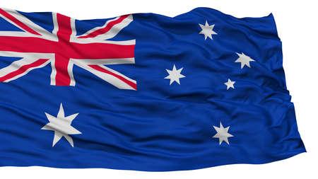 Isolated Australia Flag, Waving on White Background, High Resolution