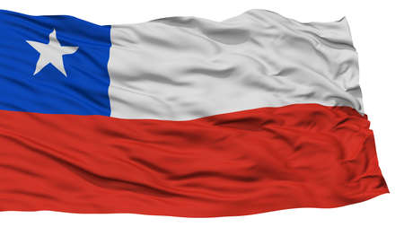 Isolated Chile Flag, Waving on White Background, High Resolution