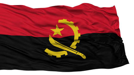 Isolated Angola Flag, Waving on White Background, High Resolution