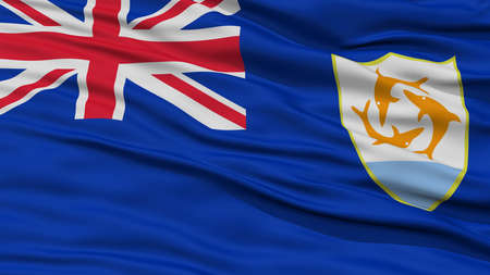 flag: Closeup Anguilla Flag, Waving in the Wind, High Resolution Stock Photo