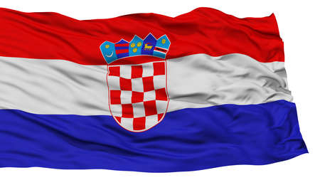 Isolated Croatia Flag, Waving on White Background, High Resolution