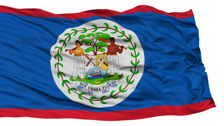 belize: Isolated Belize Flag, Waving on White Background, High Resolution Stock Photo