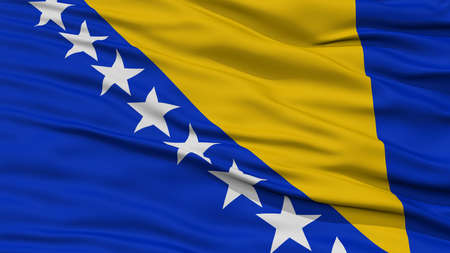 Closeup Bosnia and Herzegovina Flag, Waving in the Wind, High Resolution