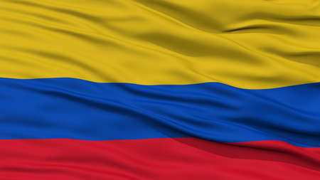 Closeup Colombia Flag, Waving in the Wind, High Resolution