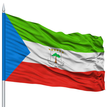 Equatorial Guinea Flag on Flagpole , Flying in the Wind, Isolated on White Background