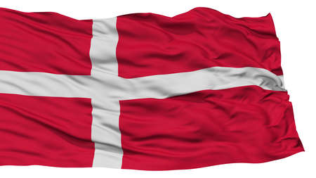 Isolated Denmark Flag, Waving on White Background, High Resolution