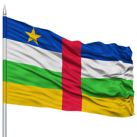 Central African Republic Flag on Flagpole , Flying in the Wind, Isolated on White Background