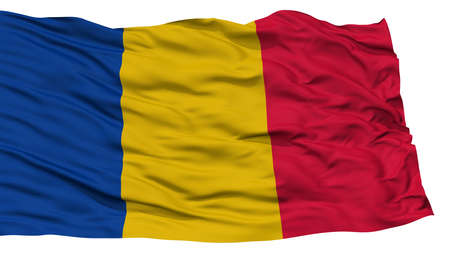 Isolated Chad Flag, Waving on White Background, High Resolution Stock Photo