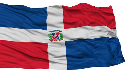 Isolated Dominican Republic Flag, Waving on White Background, High Resolution Stok Fotoğraf