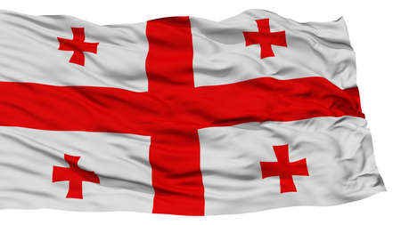 georgia flag: Isolated Georgia Flag, Waving on White Background, High Resolution