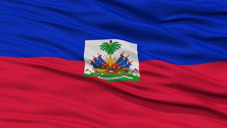 Closeup Haiti Flag, Waving in the Wind, High Resolution