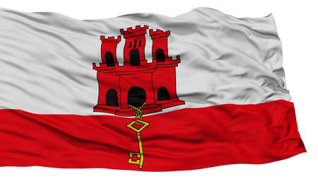 Isolated Gibraltar Flag, Waving on White Background, High Resolution Stock Photo