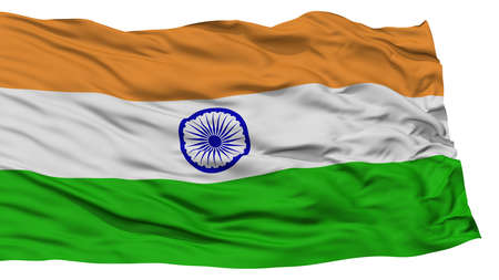 Isolated India Flag, Waving on White Background, High Resolution Stock Photo