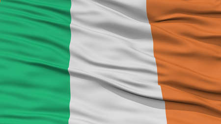ireland cities: Closeup Ireland Flag, Waving in the Wind, High Resolution Stock Photo