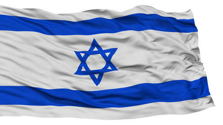 Isolated Israel Flag, Waving on White Background, High Resolution Stock Photo