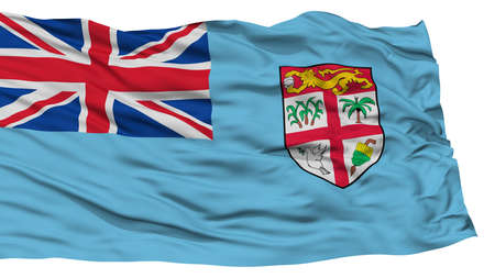 Isolated Fiji Flag, Waving on White Background, High Resolution