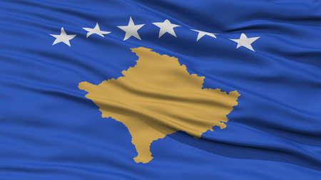 Closeup Kosovo Flag, Waving in the Wind, High Resolution