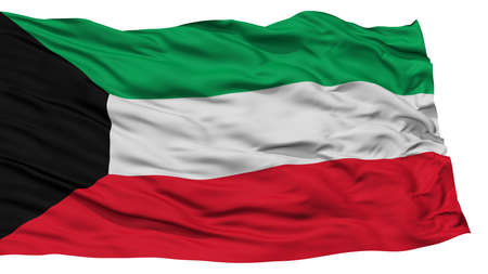 Isolated Kuwait Flag, Waving on White Background, High Resolution