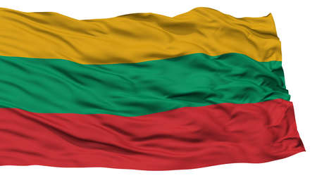 Isolated Lithuania Flag, Waving on White Background, High Resolution