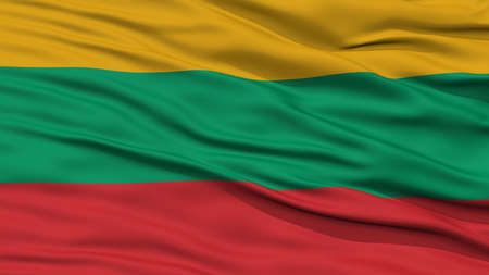Closeup Lithuania Flag, Waving in the Wind, High Resolution Stock Photo