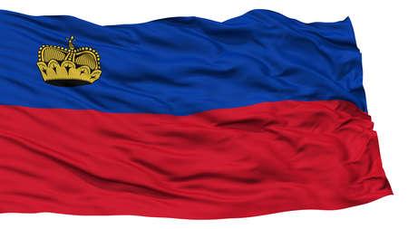 liechtenstein: Isolated Liechtenstein Flag, Waving on White Background, High Resolution