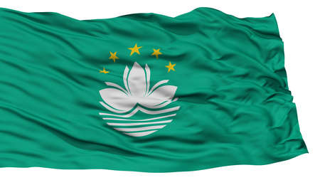 macau: Isolated Macau Flag, Waving on White Background, High Resolution Stock Photo